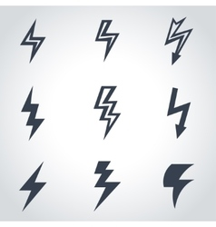 black lightning icon set vector image