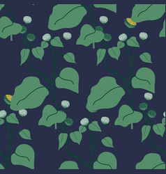 botany foliage with large leaves seamless pattern vector image