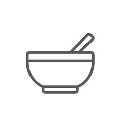 bowl with spoon line icon vector image