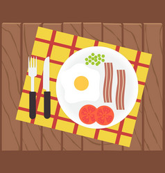 Breakfast time Egg bacon and vegetables vector image