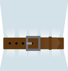Brown leather belt tightened vector