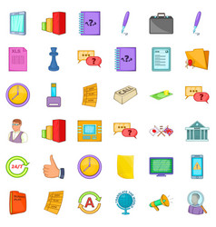 Business planning icons set cartoon style vector