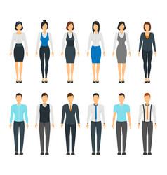 cartoon business people set staff dress style vector image