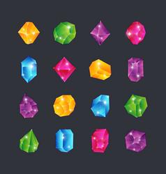 Cartoon gems gem stones jewels diamonds topaz vector