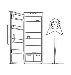 cartoon of depressed man crying near empty fridge vector image