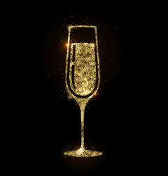 champagne glass icon golden sparkle champagne vector image