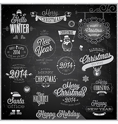 christmas emblems3 chalk vector image