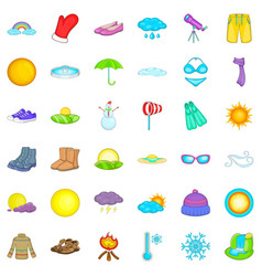 Cold weather icons set cartoon style vector