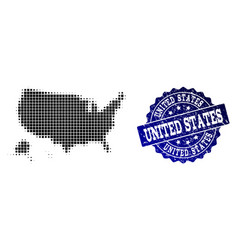 collage of halftone dotted map of usa territories vector image