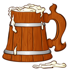 Color wooden mug with beer vector