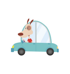 colored kids transport with cute little dog vector image
