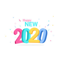 colorful happy new 2020 year greeting card vector image