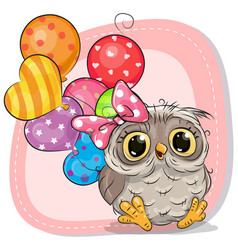 Cute cartoon owl girl with balloons vector
