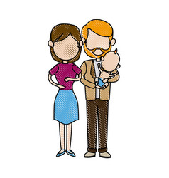 Cute couple holding baby boy standing image vector