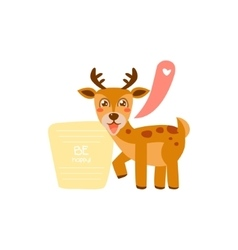 Cute deer with a sign for text vector image