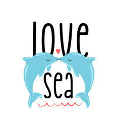 cute dolphins print design with slogan vector image