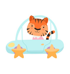Cute little tiger riding toy car funny adorable vector
