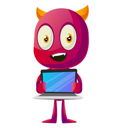 devil with laptop on white background vector image