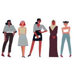 fashion clothes for ladies of different nations vector image
