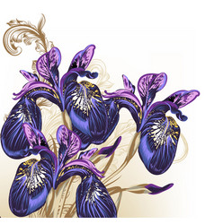 fashion hand drawn flowers in purple color vector image