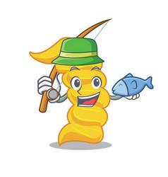 Fishing fusilli pasta mascot cartoon vector