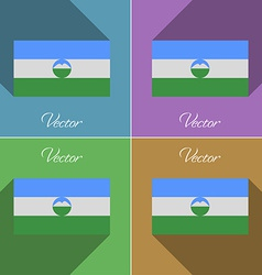 Flags KabardinoBalkaria Set of colors flat design vector