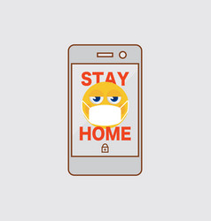 Flat design smart phone sign stay home vector