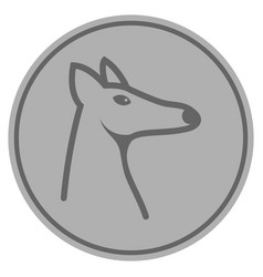Fox head silver coin vector