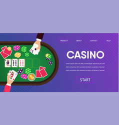 gambling table casino player man croupier hands vector image