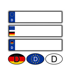 German specific vehicle registration plate on vector