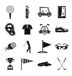 Golf items icons set simple style vector