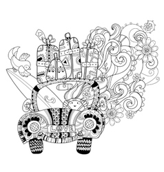 Hand drawn doodle outline holiday car travel vector