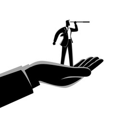 hand holding a businessman using telescope vector image