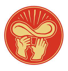 hands of chef throwing pizza dough in the air vector image