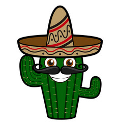 happy cactus with hat vector image