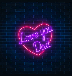 Happy fathers day neon glowing festive sign on a vector