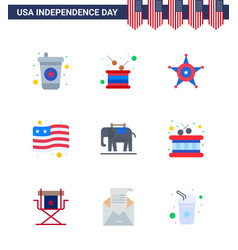 Happy independence day 4th july set 9 flats vector