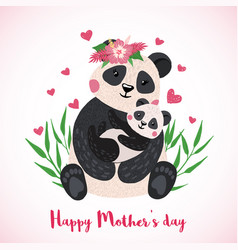 happy mothers day card with cute pandas vector image