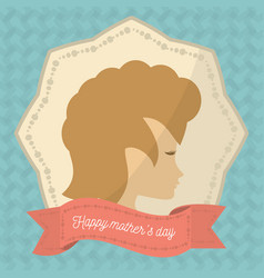 Happy mothers day face woman badge vector
