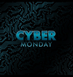 holographic cyber monday banner circuit board vector image