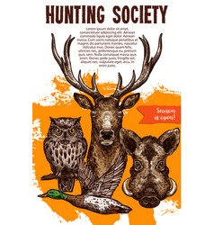 Hunting sport banner with wild animal and bird vector