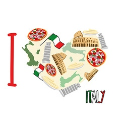 I love Italy Symbol heart of attractions of Italy vector image vector image