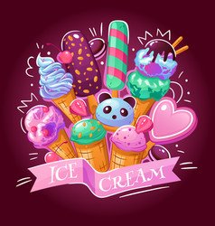 Ice cream background poster vector