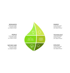 Infographic template green leaf vector