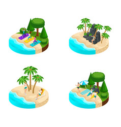 isometry set of islands with beautiful landscapes vector image