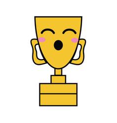 Kawaii cute funny prize cup vector