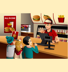 kids ordering food at a restaurant vector image