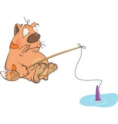 Kitten the fisherman cartoon vector image
