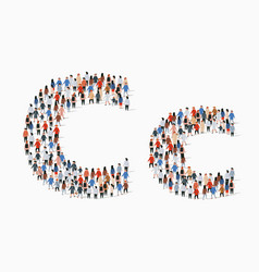 Large group people in letter c form vector