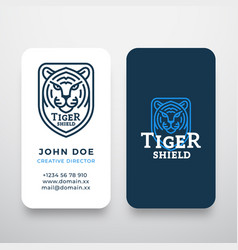 line style tiger face shield abstract logo vector image